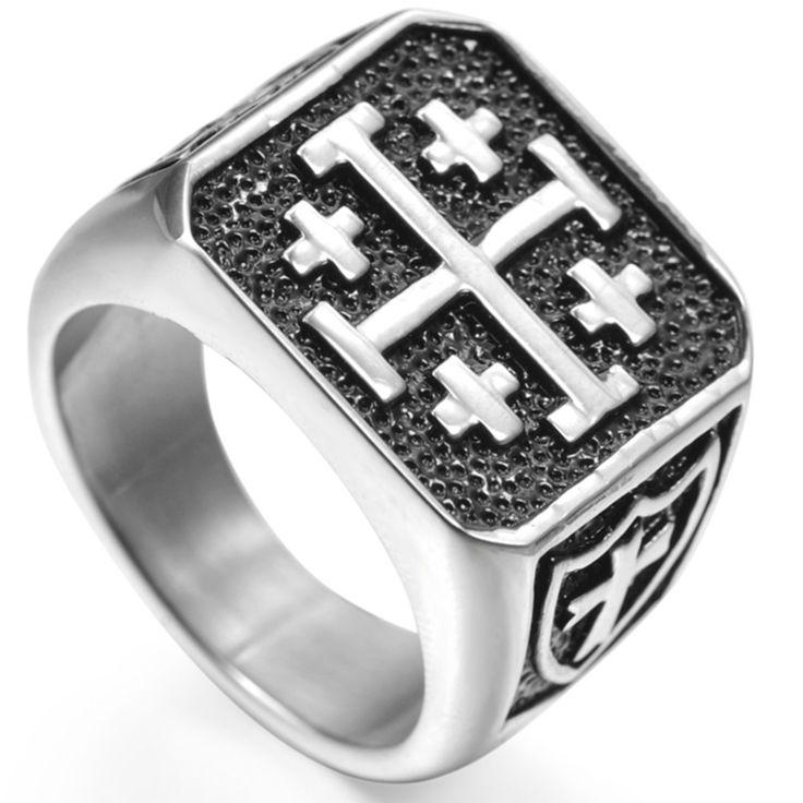 Größe 7-15 Jerusalem Kreuz Ring Edelstahl Crusaders Religiöse Jesus Christus Mittelalterlichen Ritter Templer Military Mittleren Alters