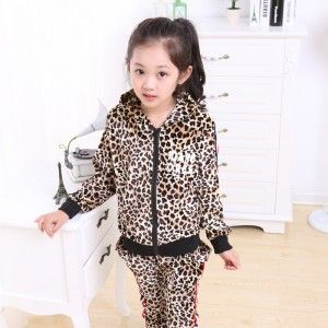 New Kids Hoodies Sports Pants Leopard Gold Velvet Suit