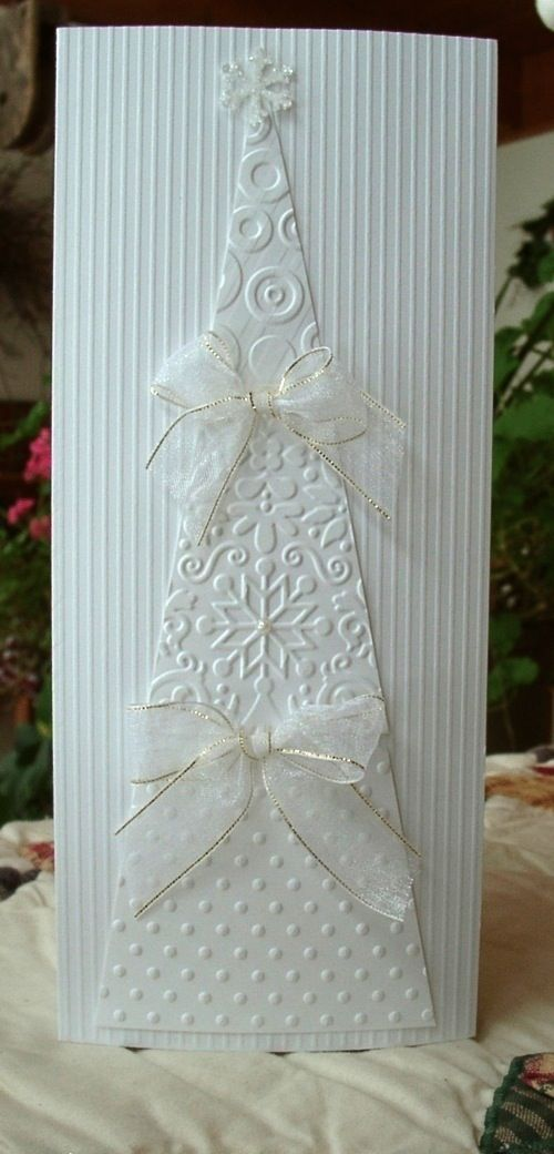 Handmade Christmas Card using embossed paper by Ashbee Design: Christmas Card Design • 2012