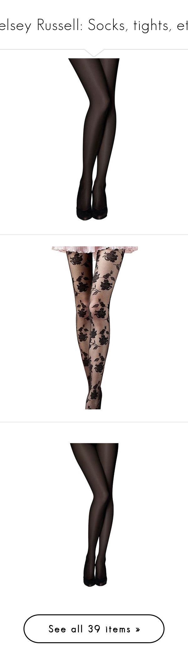 """""""Kelsey Russell: Socks, tights, etc."""" by nerdbucket ❤ liked on Polyvore featuring intimates, hosiery, tights, socks, accessories, black, opaque stockings, opaque hosiery, opaque pantyhose and opaque tights"""