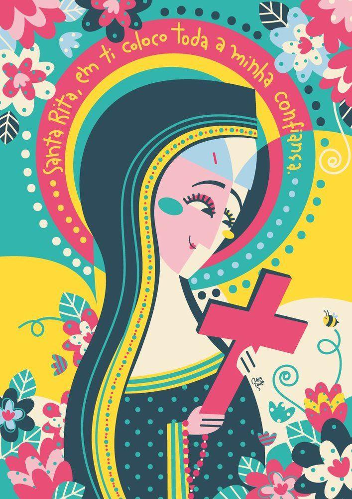 Pôster Santa Rita, da Coleção Bença, criada pela ilustradora Clau Souza  https://loja.tenhaborogodo.com.br/ZT4FTYBCV-santa-rita