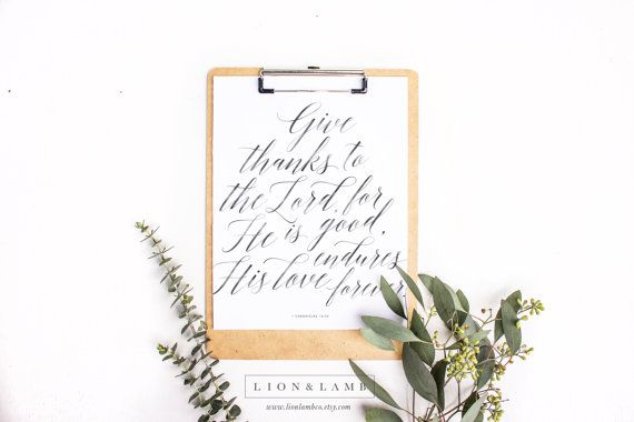 Printable  1 Chronicles 16:34  Give Thanks to the by LionLambCo