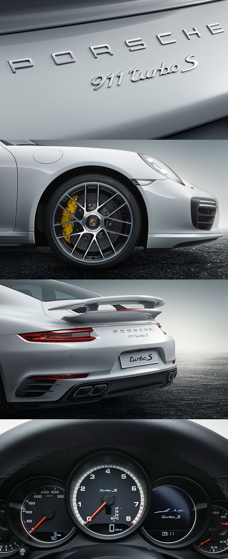 Even just a first glance gives an indication of how impressive the new 911 Turbo is in terms of power. Fuel consumption* 911 Turbo models: Combined: 9,3-9,1 l/100 km; Emissions: 216-212 g/km.
