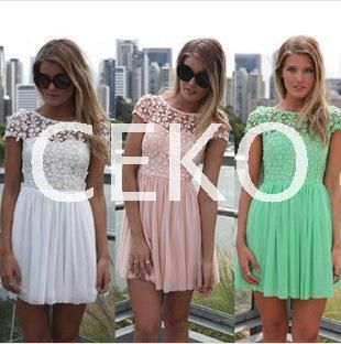 $24.09 - 2014 Fashion Women Vestidos Lace Dress Crochet Embroidered Patchwork Girl Pleated Tulle Chiffon Lace Backless Party Club Dresses