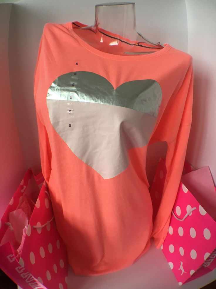 Victoria's Secret Coral Long Sleeve Crew Neck Shirt with Silver/Pink Heart