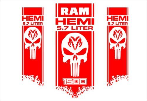 DODGE RAM HEMI 1500 2500 3500 3x HOOD & FENDER DECALS graphic vinyl body sticker