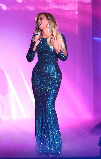 Beyonce in Vrettos Vrettakos at the Brit Awards. | Blue Gown | Sparkling Blue Dress | Designer Gown |