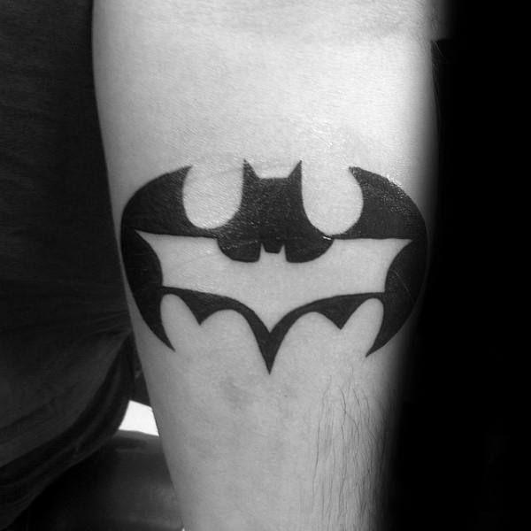 Batman Symbol Inside Another Mens Inner Forearm Tattoo