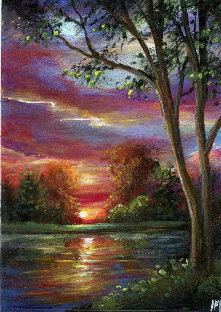 Sunset Over Forest Painting Sunset Artwork Art For Small