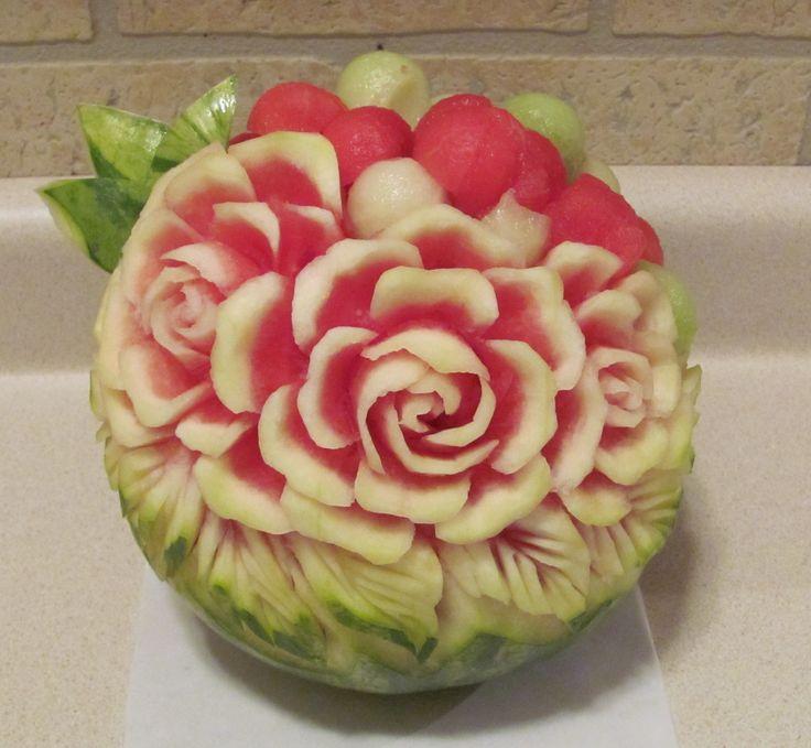 Rose watermelon bowl fruit carvings pinterest