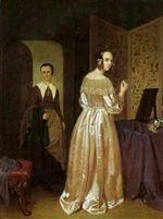 Bei der Anprobe by Cornelis Willem Hoevenaar the Elder