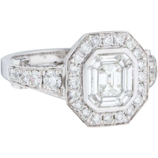 Pre-owned 18K Mixed Cut Diamond Engagement Ring ($4,225) ❤ liked on Polyvore featuring jewelry, rings, pre owned diamond rings, baguette diamond ring, round engagement rings, emerald cut engagement rings and pre owned engagement rings