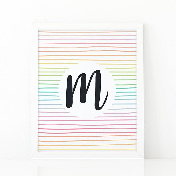 Letter M Initial wall art Colorful  Stripes initial         #Nursery #nurseryprints #nurserydecor #etsy #shooshprints #nurserywallart #nurseryprint #digitalprint #wallart #nurserydecor #kids #kidsdecor #etsyseller #etsyshop #decoration #printable #printdesign #printableart #printableart #girlsroomdecor #kidsroomdecor #boysroomdecor #print