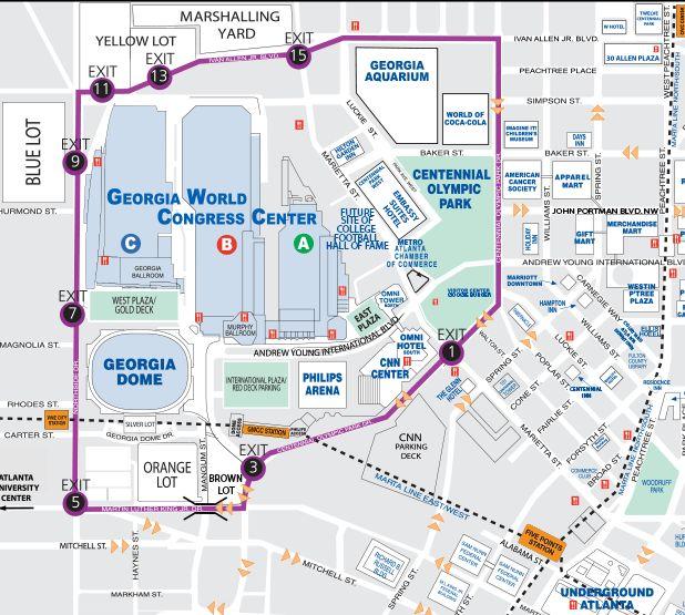Walking Map Downtown Atlanta Downtown Map of Atlanta Centennial