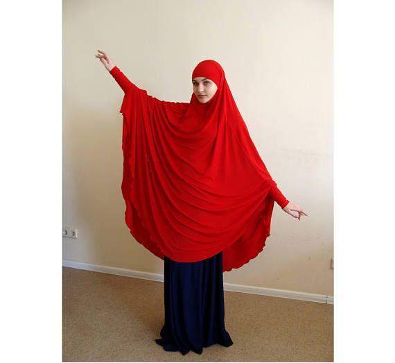 Transformer Red Khimar, niqab burqa, cherry niqab, traditional burqa, French hijab,ready to wear hijab, long hijab,burka, cosplay