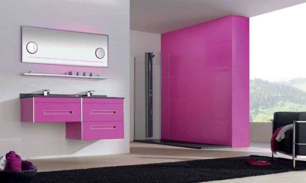pink bathroom wall paint with matching vanity