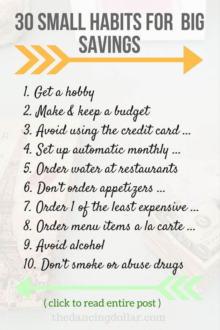 Simple, easy, & small habits to save more.