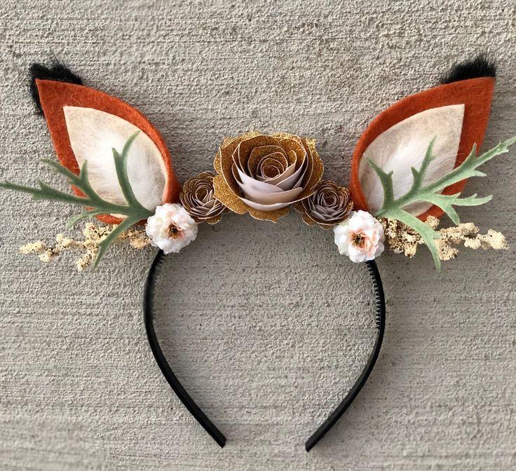 Fox Headband with Flowers-Fox Costume-Fits Kids an…