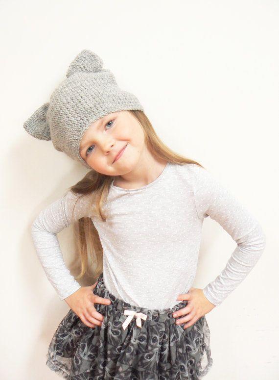 Chat oreilles, Bonnet au Crochet, tenues de printemps, tenue les filles, bonnet, bonnet chat, chapeau au Crochet, chapeau femme, chapeau gris de chapeau, la mode hiver, enfant en bas âge