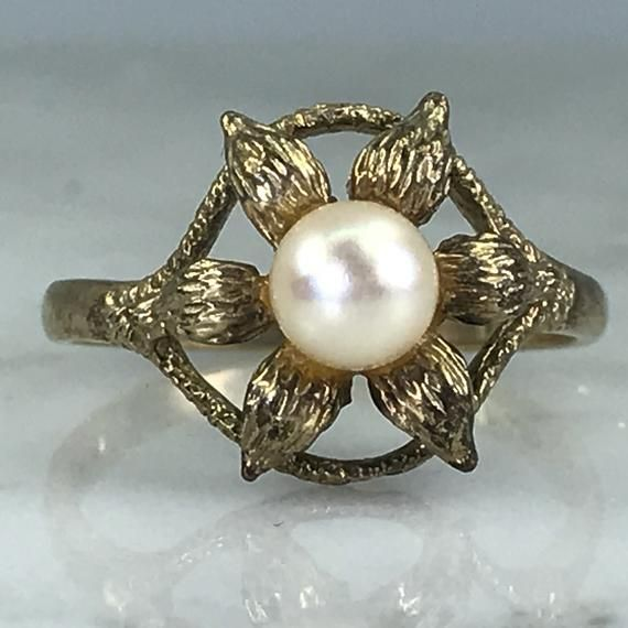 Vintage Pearl Ring 9k Yellow Gold Graduation Gift June