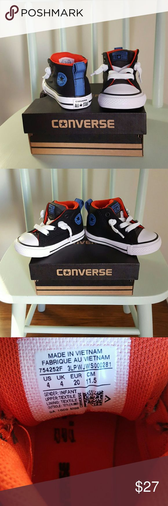 Chuck Taylor All Star Converse The Converse Chuck Taylor All Star Street slip-on sneaker is perfect for adding some street chic style to his attire. The easy on and off design makes these kids sneakers a must have!  Black canvas upper Dual elastic panels with functional lace-up Heel pull on tab Star printed tongue Rubber cap toe Mesh lining  Comes with the box Converse Shoes Sneakers