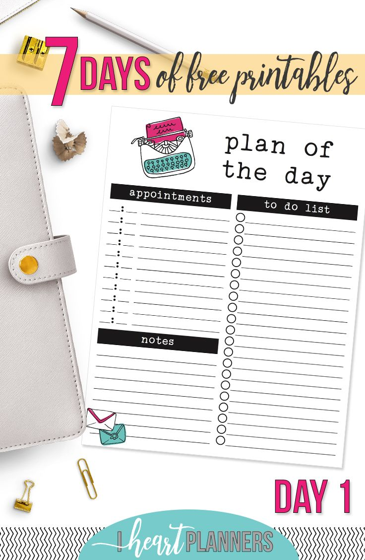 Day One of the 7 Days of Free Printables Series. Download now and use today! - www.iheartplanners.com