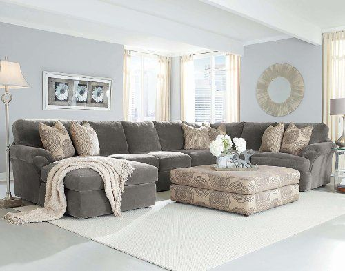 Chelsea home bradley large sectional in light grey fabric for Large couch small living room