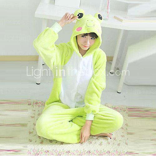 Kigurumi Pijamas Rana Leotardo/Pijama Mono Festival/Celebración Ropa de Noche de los Animales Halloween Verde Retazos Lana Polar Kigurumi 2017 - €22.92