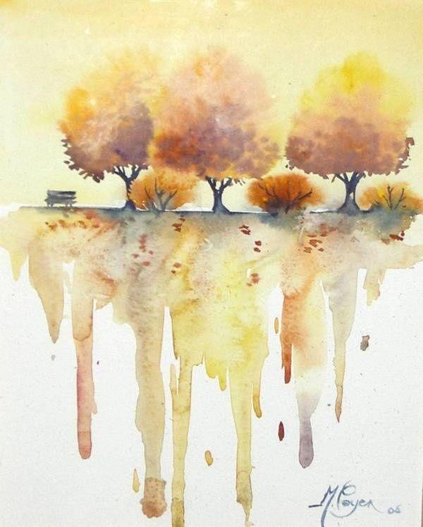 Les 94 meilleures images du tableau aquarelles sur pinterest aquarelle aquarelles et fleur en - Paysage d automne dessin ...
