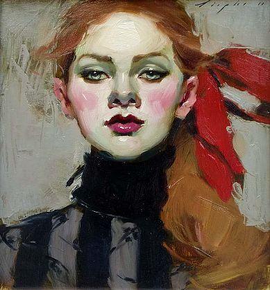 Red Ribbon by Malcolm Liepke  Malcolm T Liepke is an American painter born in Minneapolis, Minnesota.   Born: 1953, Minneapolis