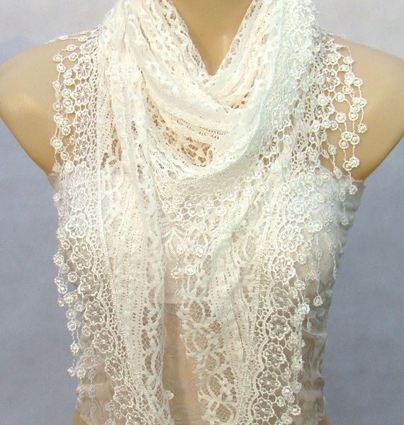 New fashion lace scarf lace white triangle lace scarf by xyuezw, $15.00