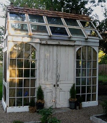 garden shed /studio made from all recycled doors, windows, trim.