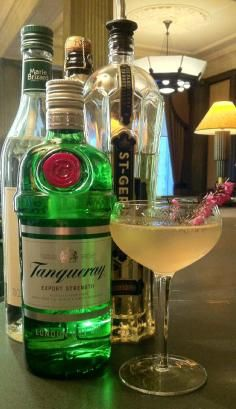 Take 20ml Tanqueray Gin; 10ml St Germain; 5ml pink grapefruit Juice; 5ml Sugar syrup; shake, then strain into a chilled glass before topping up with Champagne. Garnish with a sprig of heather
