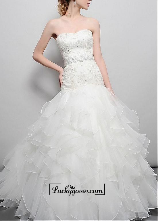 Buy Amazing Over Lace & Organza & Satin A-line Strapless Sweetheart Natural Waist Beaded Wedding Dress Online Dress Store At LuckyGown.com