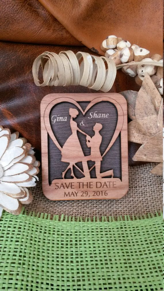 ++Save-The-date Wooden magnet ++ Every Save-The-date magnet is engraved and made from cherry wood. This Save-The-date magnet is easy to keep