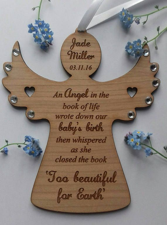 Baby Loss angel, infant, loss, miscarriage, memorial ,plaque, keepsake, engraved, personalised, wood
