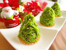 simple green tea sweet potato Mont Blanc ☆ by Marrietty a Christmas tree