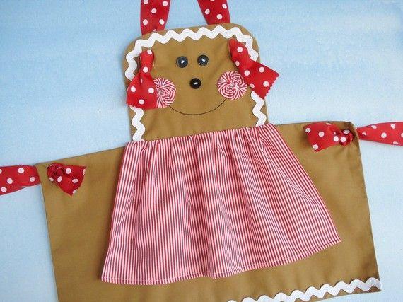 Delantal costura patrón para niños - chica de pan de jengibre, muñeco de nieve y delantal de nudo llano - ePattern PDF