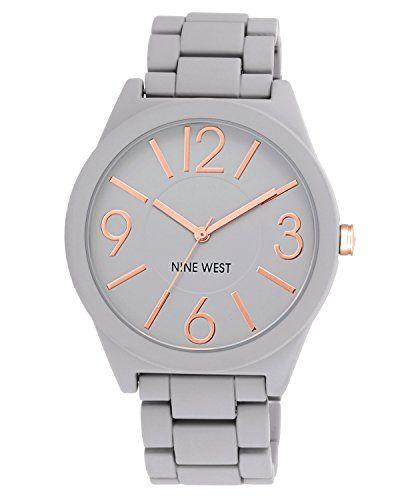 Nine West Women's NW/1678GYRG Gray Rubberized Watch with Link Bracelet - http://dressfitme.com/nine-west-womens-nw1678gyrg-gray-rubberized-watch-with-link-bracelet/
