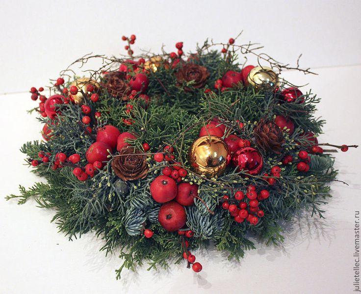 Купить Новогодний венок Грильяж - зеленый, новогодний венок, украшение дверей, рождество, подарок на новый год