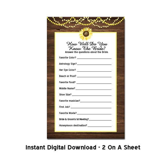 Wood Sunflower Bridal Shower Game How Well by TreasuredMomentsCard