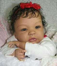 Beautiful Curly Hair Porcelain Baby Doll Wearing A Red
