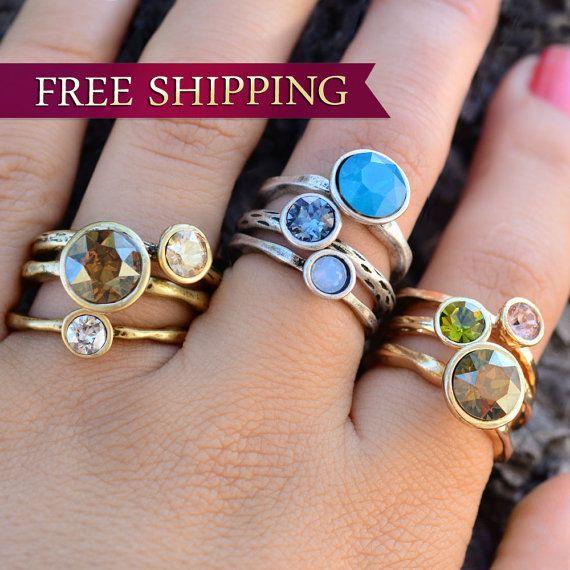 Cirkel stapelen ringen stapelbare ringen door ShelleyCooperJewelry