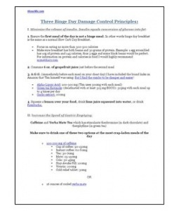 The Four Hour Body Slow Carb Diet Binge Day Cheat Sheet