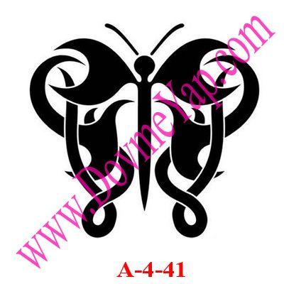 Kelebek Simgesi Geçici Dövme Şablon Örneği Model No: A-4-41