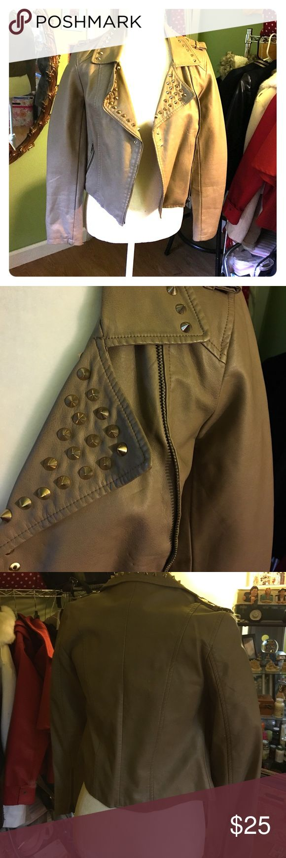 BNWT forever 21 studded spiked leather jacket This jacket is so awesome. The spikes are really high quality. Size small. Lady Gaga, Kylie Jenner, Kim kardashian style. Forever 21 Jackets & Coats Blazers