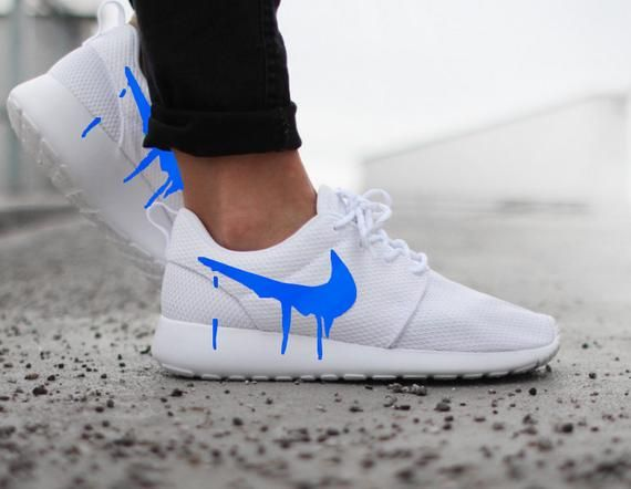 énorme réduction 55336 2d883 Nike Roshe Run One White with Custom Blue Candy Drip Swoosh ...