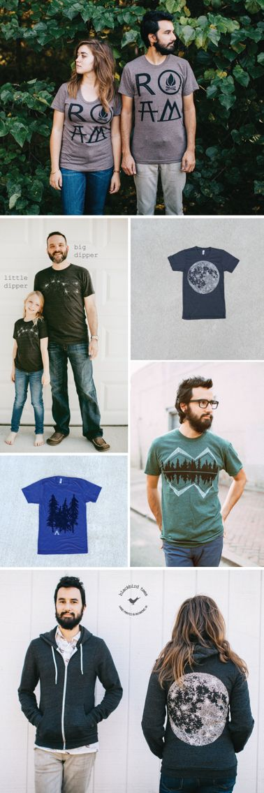 Our latest men's collection is inspired by the great outdoors. It's filled with imagery of camping trips and nights spent sleeping under the stars. The full mix of t-shirts, sweatshirts, scarves and hoodies offers a subtle, stylish way to celebrate wanderlust and the spirit of adventure. So if you're shopping for the outdoor-enthusiast-camping-hiking-stargazing-nature-loving man in your life, we've got you covered. Visit our Etsy shop to view the entire men's catalog.