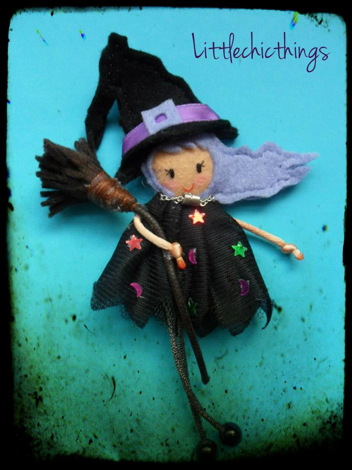 felt witch pin by Littlechicthings