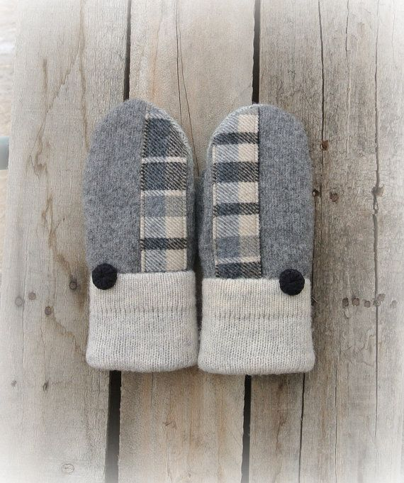 GRAY & TAN PLAID Women's Wool Sweater Mittens by MadAboutMittens